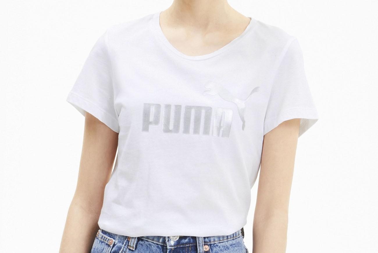 KOSZULKA ESS+ Metallic Tee Puma White-Si