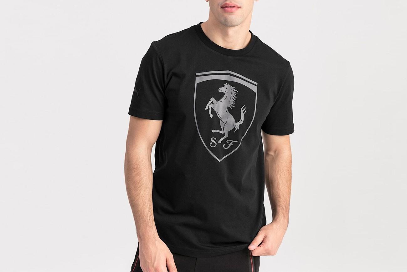 Koszulka Ferrari Big Shield Tee Puma Bla