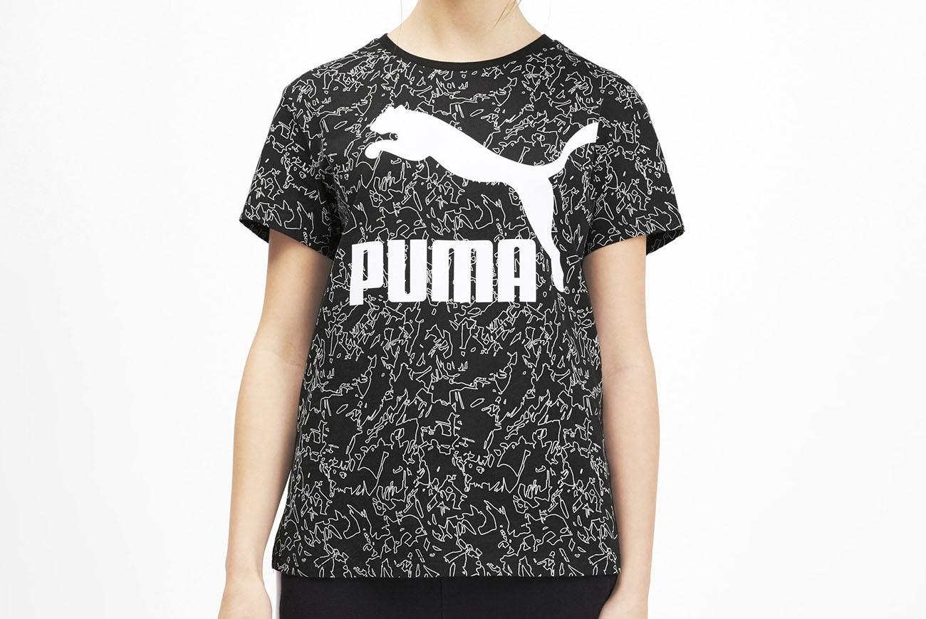 Koszulka Classics Logo Tee AOP Puma Blac
