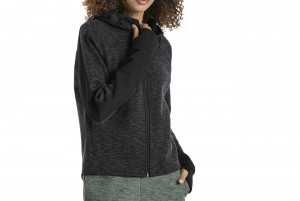 Bluza EVOSTRIPE FZ Hoody Cotton Black-heather